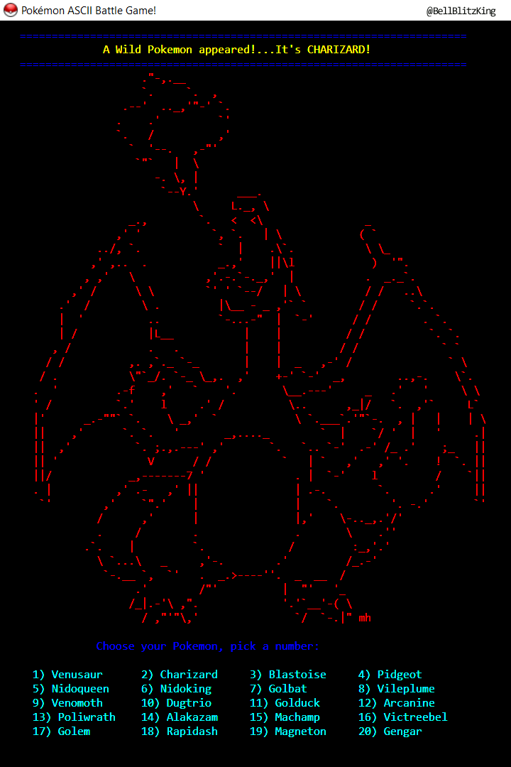 Pokemon ASCII Battle Game! Screenshot_1.png