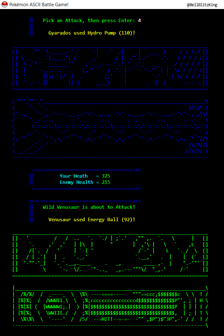 Pokemon ASCII Battle Game! Screenshot_2.png