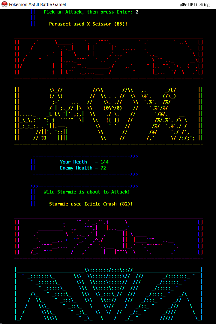 Pokemon ASCII Battle Game! Screenshot_4.png